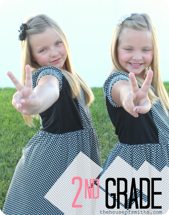 Twins - first day of second grade - thehouseofsmiths.com