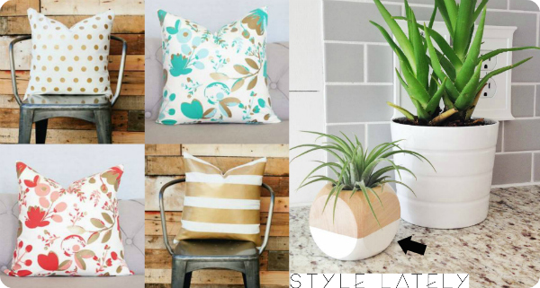 Style Lately Home Products - Gold Pillows - Modern Planters - the house of smiths