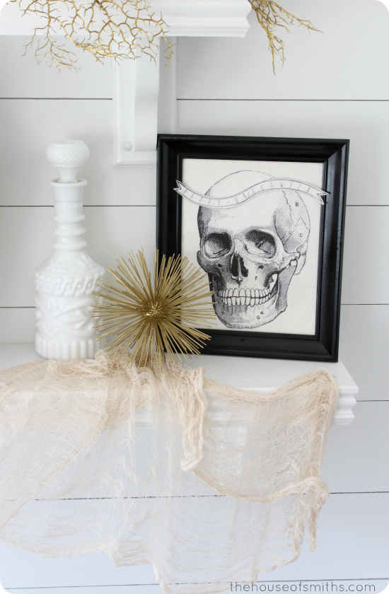 Black, gold and white halloween decorations - halloween shelf decor 2013 - thehouseofsmiths.com