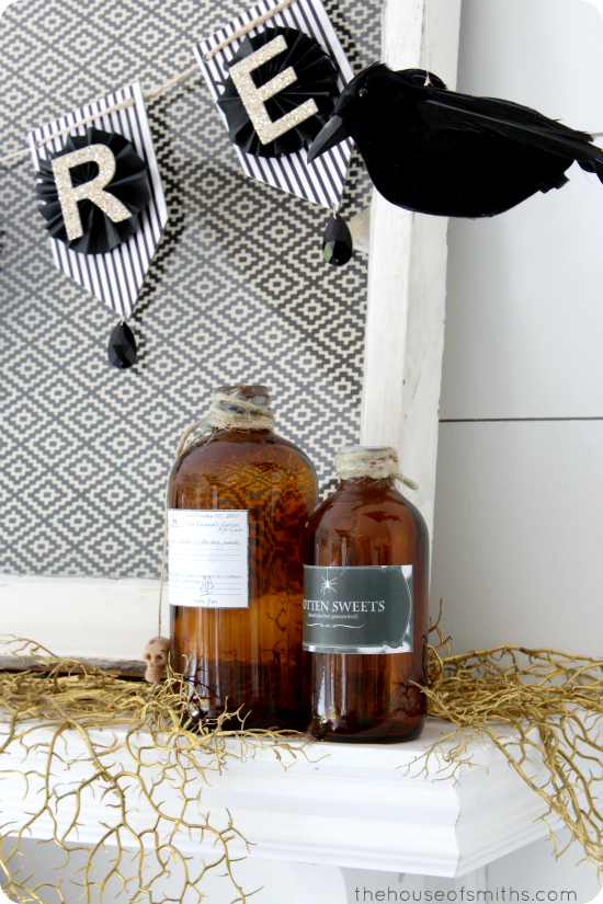 brown potion bottles - halloween decor - thehouseofsmiths.com