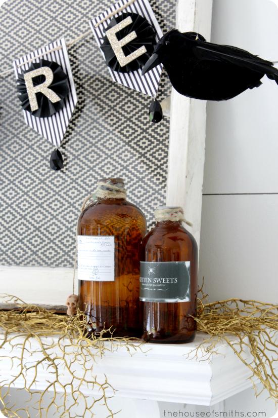 brown potion bottles - halloween decor - thehouseofsmiths.com