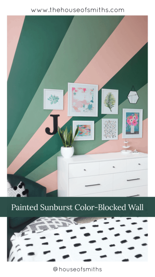 painted Sunburst Color Blocked Wall - Teen Bedroom Makeover - The House of Smiths